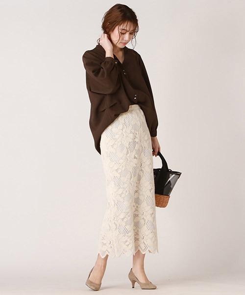 ビッグサイズブラウス×レースタイトスカート