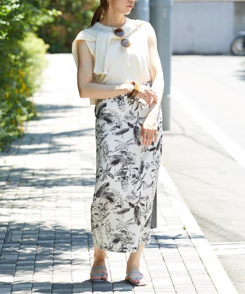 [ROPE'] 【WEB限定】【洗える】ボタニカル柄タイトスカート