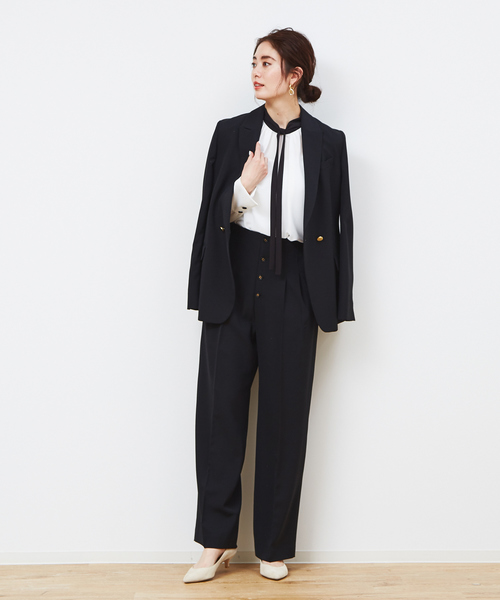 スーツジャケット×ハイウエストパンツ