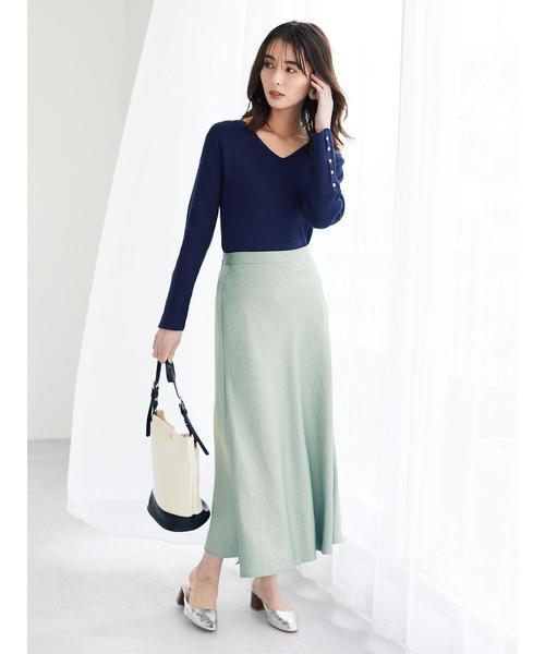 グリーンのフレアスカート
