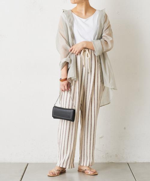 【11月中旬服装】ストライプパンツで南国コーデ
