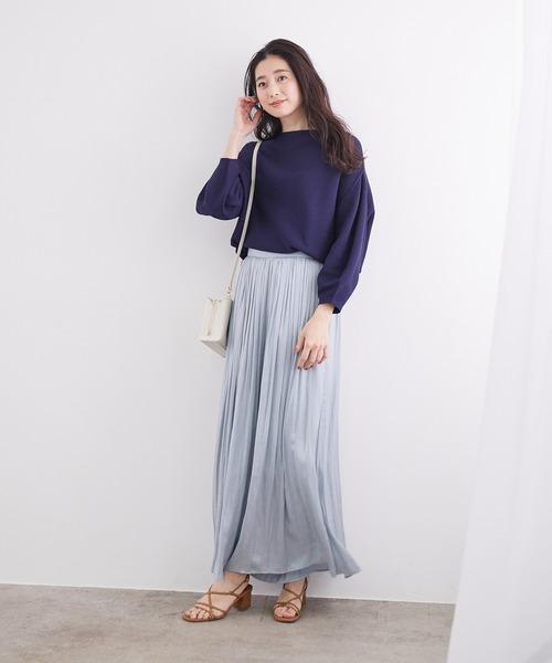 ライトブルーのロングスカート