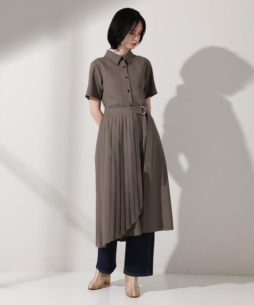 [UNITED TOKYO] ラッププリーツシャツ ロング ワンピース /半袖 シャツワンピース
