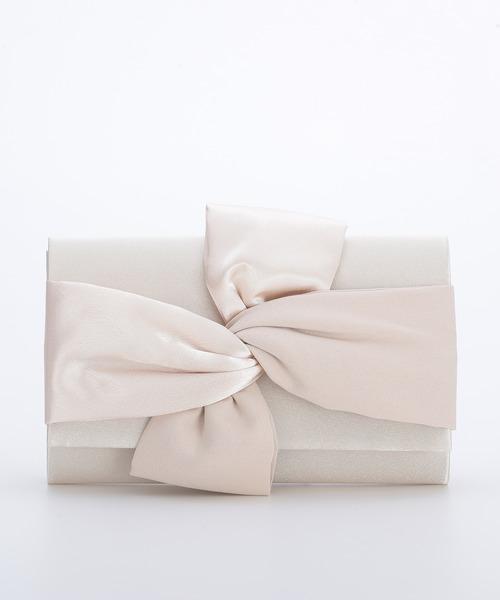 [Shelly island] 【floress】結婚式・謝恩会・フォーマル パーティーバッグ サテンリボンモチーフクラッチバッグ