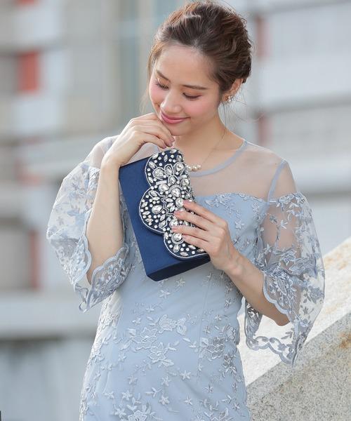 [Shelly island] 【floress】結婚式・謝恩会・フォーマル パーティーバッグ オリエンタルスカラ刺繍クラッチバッグ