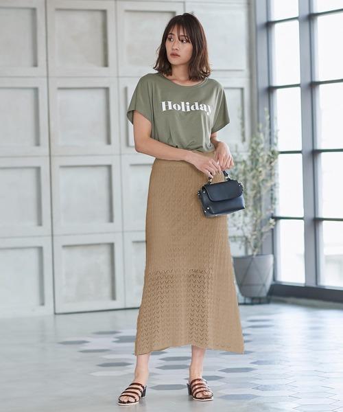 [kobelettuce] 透かし編みニットフレアスカート