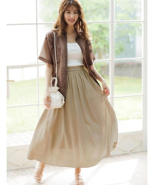 [INGNI] 麻ギャザー/スカート