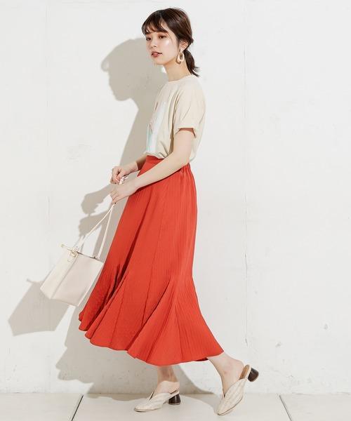 [natural couture] シャドーストライプ切替フレアスカート