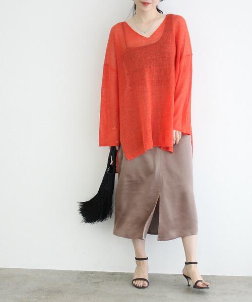 [ADAM ET ROPE'] 【一部店舗限定】サテンAラインスカート