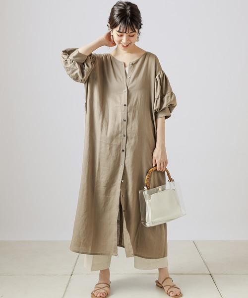 [natural couture] 【WEB限定カラー有り】ラフィアバックル大人リネンワンピース