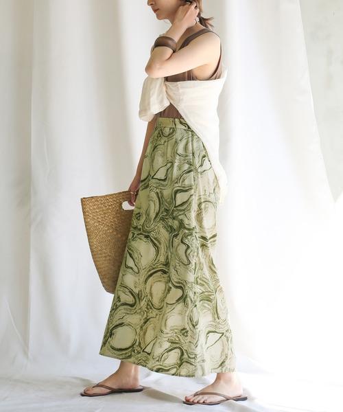 [select MOCA] 2020 S/S マーブルタイトスカート/ウエストゴムバックスリットナロースカート