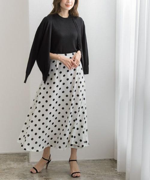 [Pierrot] ドット柄ロングスカート