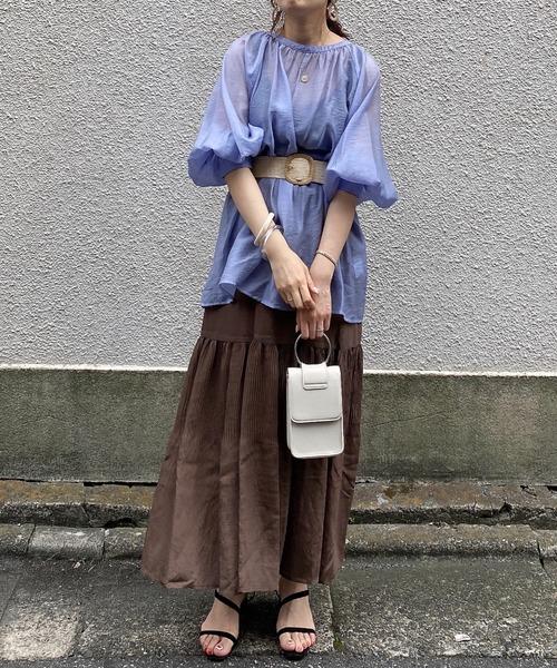 色合いのきれいなプリーツスカートコーデ