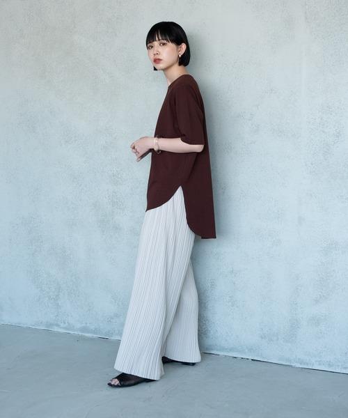 [YARD PLUS/AUNT MARIE'S] 裾ラウンドスリットビッグTシャツ 【AUNT MARIE'S】