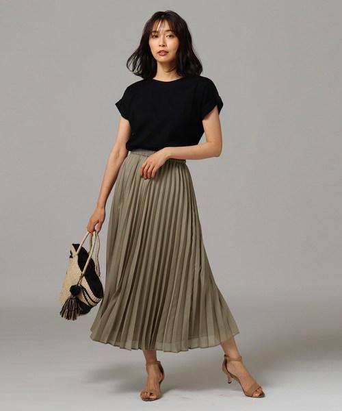 [UNTITLED] 【洗える】エールスパンローン プリーツロングスカート