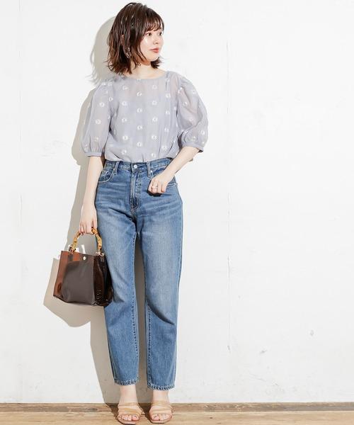 [natural couture] 【WEB限定カラー有り】シアーマーガレット刺繍インナー付きブラウス
