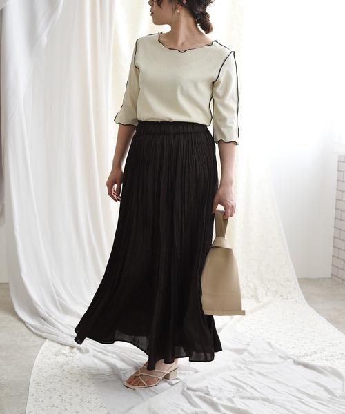 [LHELBIE] サテンワッシャープリーツスカート