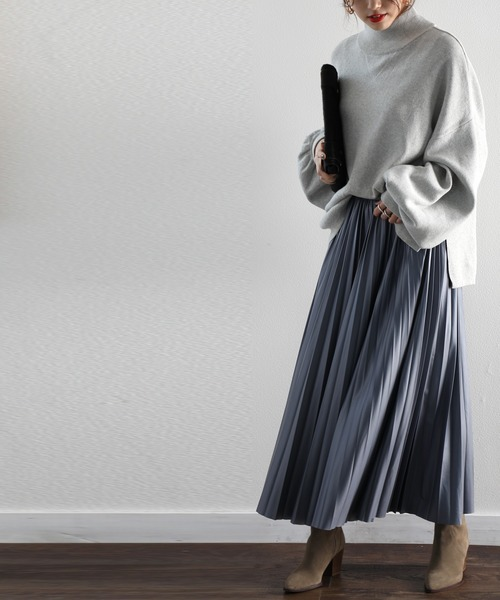[Classical Elf] 無地エコレザープリーツスカート(ロング・マキシ丈)