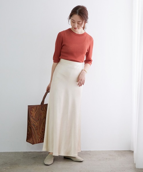 [ADAM ET ROPE'] サテンマーメイドスカート