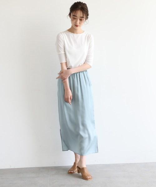 [OZOC] [洗える]サテンナロースカート