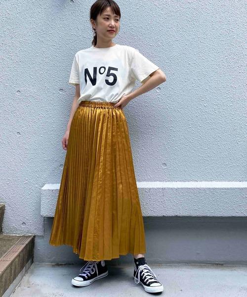 [PICCIN] メタリックサテン風3WAYプリーツスカート