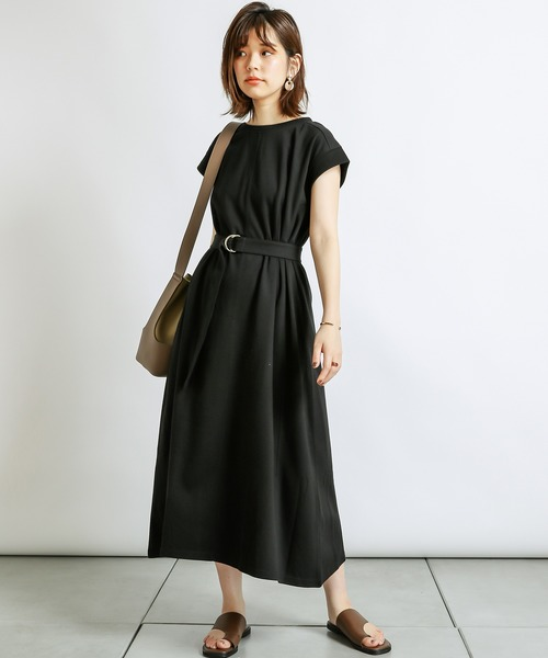 [natural couture] 防油加工パネル切替カットソーワンピース