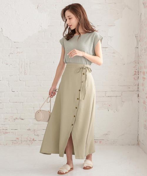 [kobelettuce] サイドボタンウエストリボンスカート