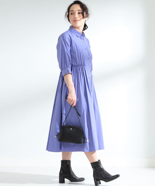 紫ロングシャツワンピースの秋コーデ