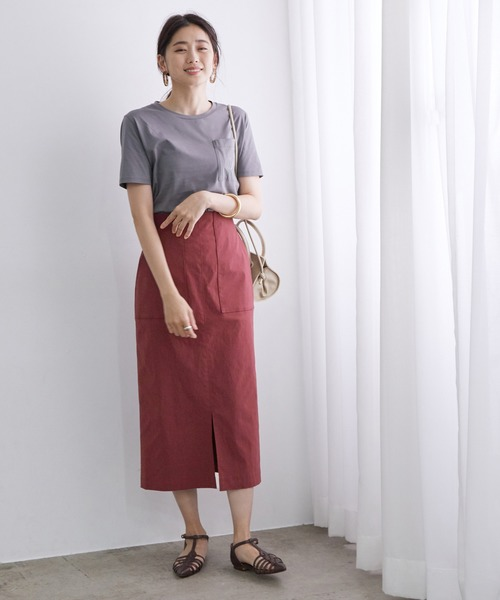 [ROPE'] 【ドラマ着用】ポケット付きストレッチタイトスカート