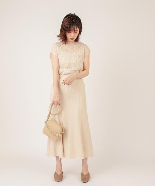 [natural couture] 【WEB限定カラー有り】レースプリーツノースリブラウス