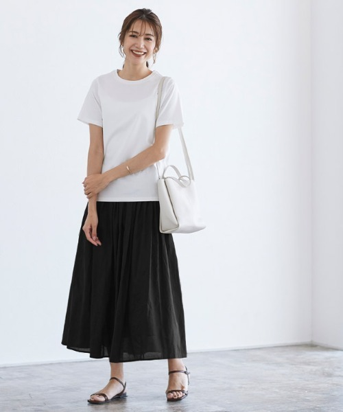 [Pierrot] コットンギャザーロングスカート