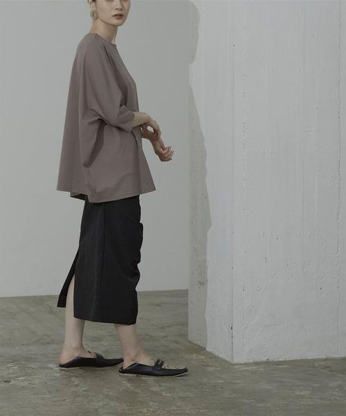 [titivate] シャーリングデザインロングスカート