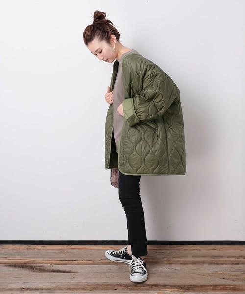 キルティングジャケットの秋コーデ