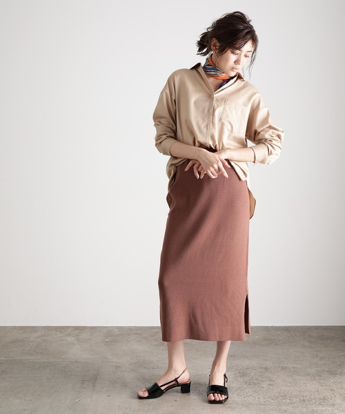 [ViS] 【セットアップ対応】ミラノリブミディ丈タイトスカート