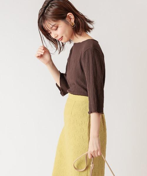 [natural couture] 【WEB限定カラー有り】ぽこぽこ素材6分袖トップス