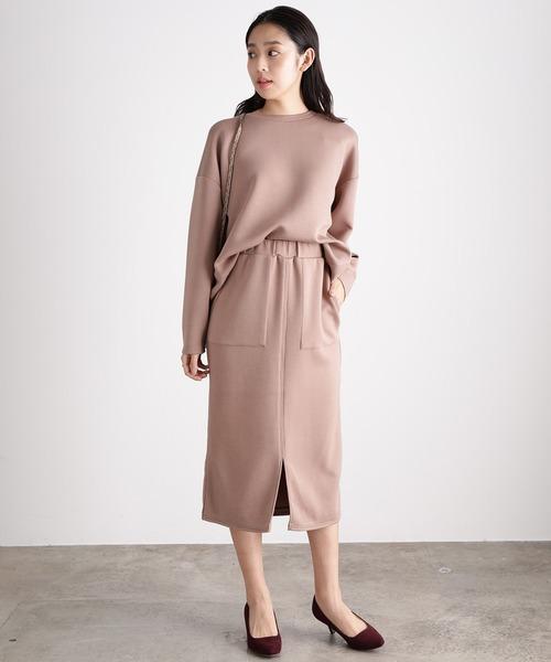 [ViS] 【スフレタッチ】ダンボールニットタイトスカート
