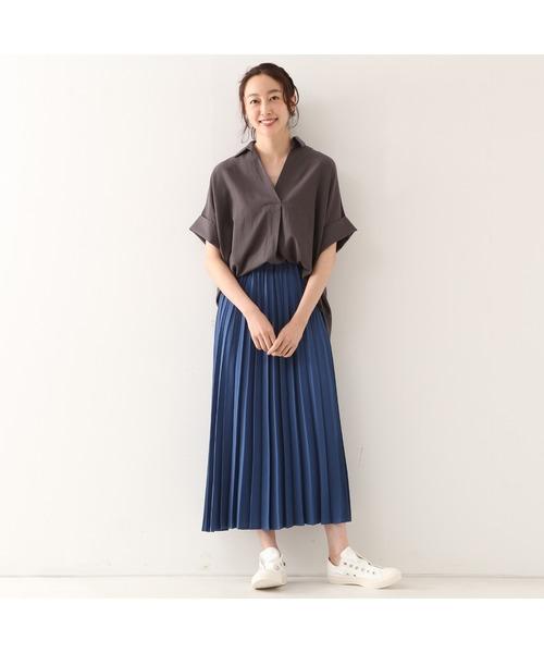 [MELROSE claire] リネンライクツイルアコーディオンプリーツスカート