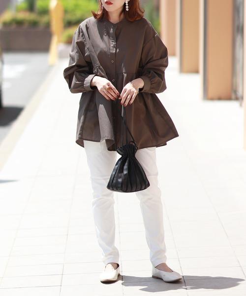 [kana] バンドカラー ボリューム袖 長袖 フレアチュニック シャツ / 20AW