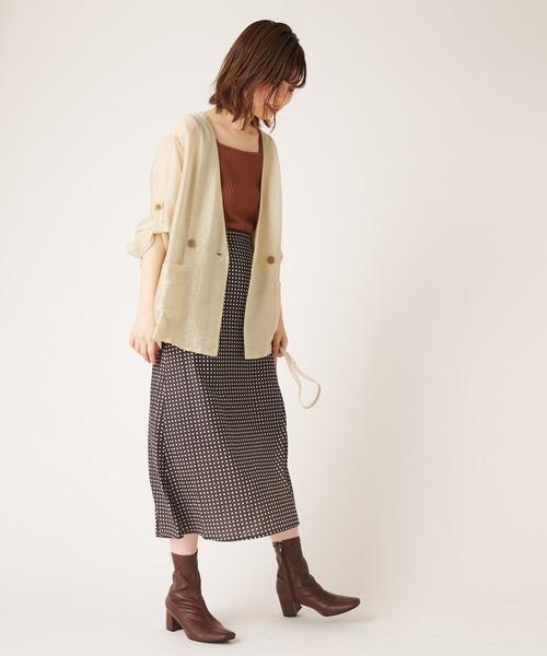 シアージャケット×プリントタイトスカート