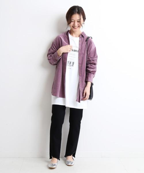 [IENA] ライトコールロングシャツ【手洗い可能】◆