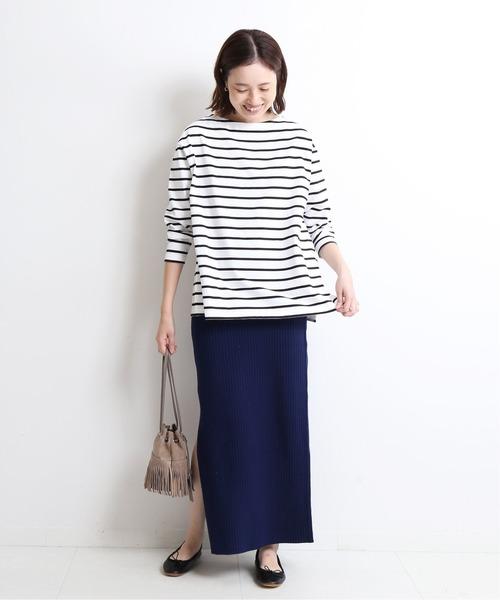 [IENA] リブニットロングスカート【手洗い可能】◆