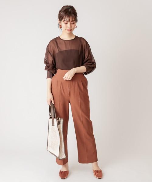 [natural couture] 【WEB限定】ボリュームスリーブシアーブラウス