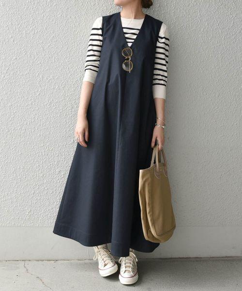 [SHIPS for women] SHIPS any:マキシテントワンピース(ネイビー) ◆