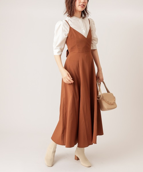 [natural couture] 【WEB限定カラー有り】バックリボンキャミワンピース