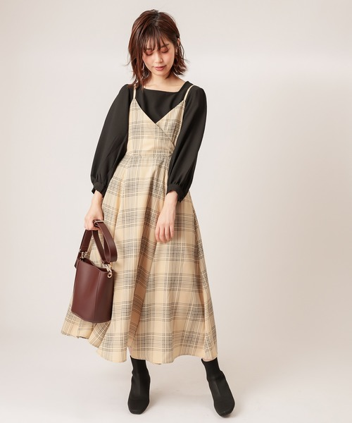 [natural couture] 【WEB限定カラー有り】バックリボンキャミワンピース
