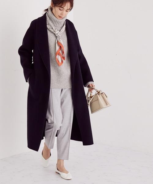 ニット×センプレパンツの忘年会ファッション