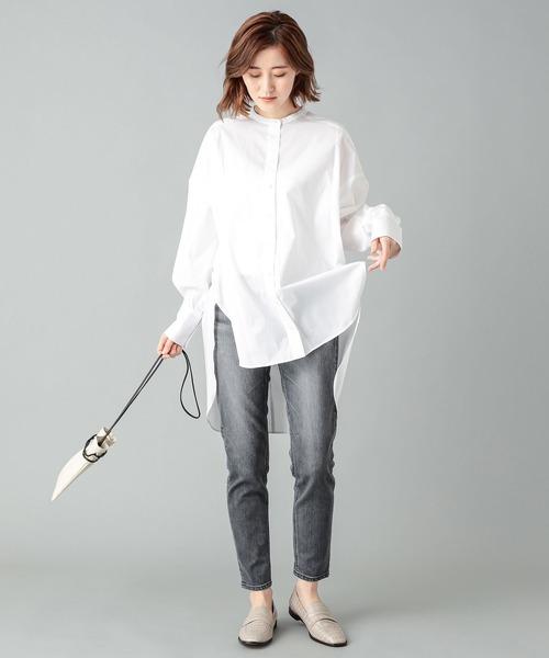 [RIVE DROITE] 抜け感のある着こなし タイプライターオーバーロングシャツ