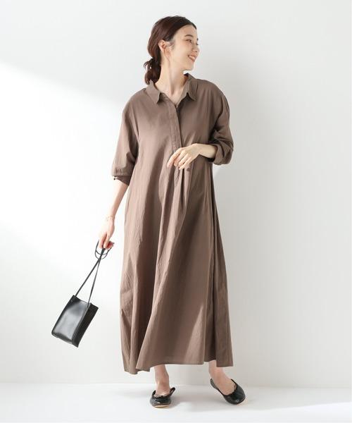 [IENA] ロングシャツドレス【手洗い可能】◆
