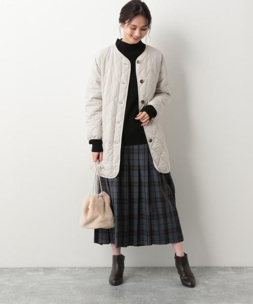 キルティングコートの服装