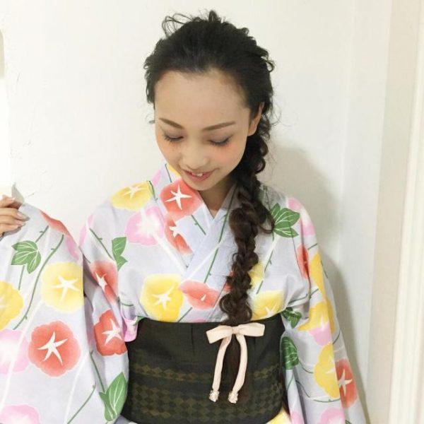 浴衣×黒髪でおすすめの髪型・ロング2